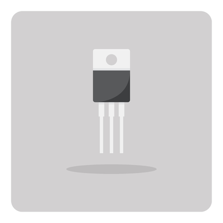 transistor: Vector of flat icon, transistor for circuits board on isolated background