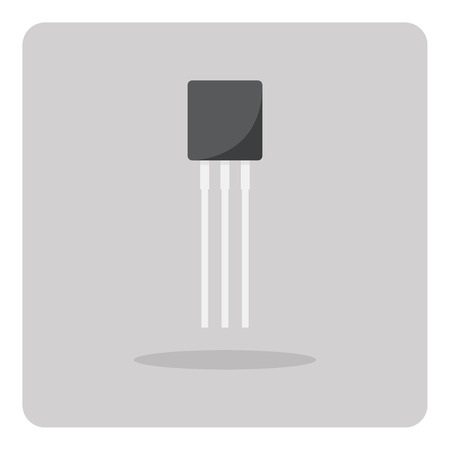 Vector of flat icon, transistor for circuits board on isolated background