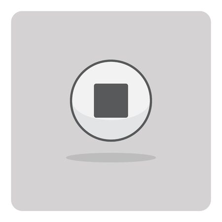 vector button: Vector of flat icon, stop button on isolated background Illustration