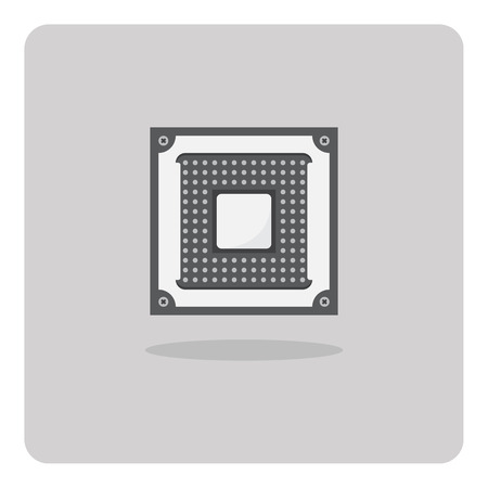 computer socket: Vector of flat icon, cpu socket for computer on isolated background