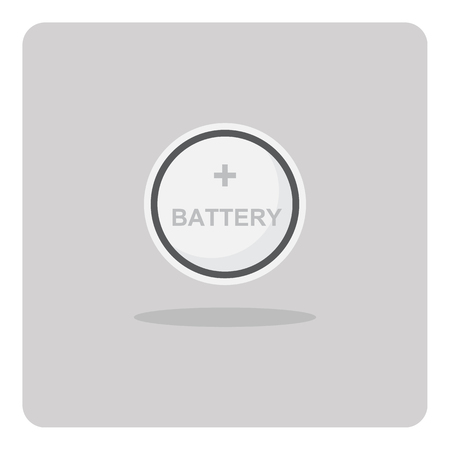 Vector of flat icon, button cell battery on isolated background