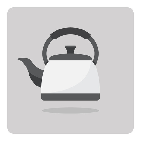 teapot: Vector of flat icon, kettle on isolated background