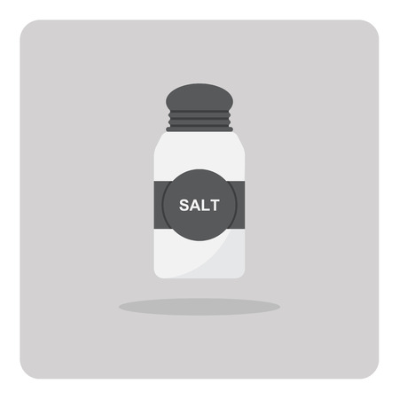 cooking utensils: Vector of flat icon, Salt shaker on isolated background