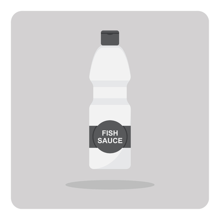 fish sauce: Vector of flat icon, Fish sauce bottle on isolated background