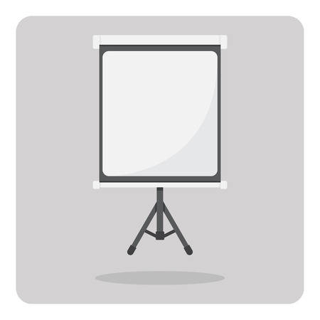 tripod projector: Flat icon, Tripod projector screen on isolated background