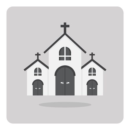 country church: flat icon, Church building on isolated background Illustration