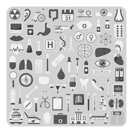 Vector of flat icons, Medical set on isolated background Illustration