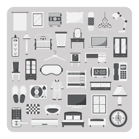 bolster: Vector of flat icons, Bedroom and furniture set on isolated background