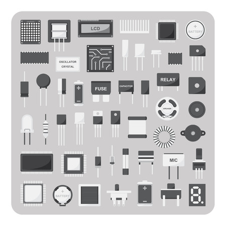 inductor: Vector of flat icons, Basic electronic circuit board set on isolated