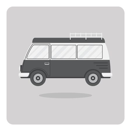 Vector of flat icon, Classic van on isolated background Illustration