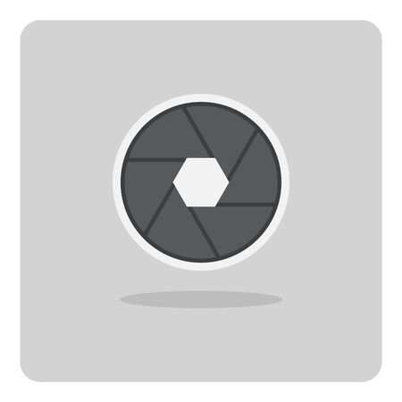 Vector design of flat icon, Camera shutter aperture on isolated background. Ilustracja