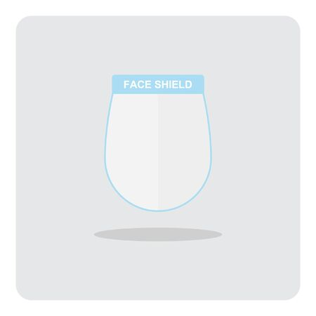 Medical Face Shield for protection Coronavirus 2019 (COVID-19) disease, Vector design of flat icon on isolated background.