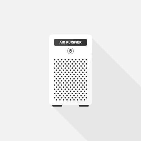 Air Purifier white color, Vector design of flat icon on isolated background.