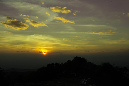 Sunset on Phu Soi Dao National Park Si Nan Thailand.