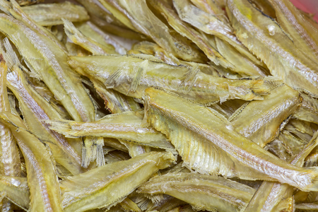 Dried fish  in the market for sales. photo