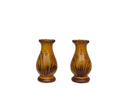 artefacts: Two vase old vase isolated on white background