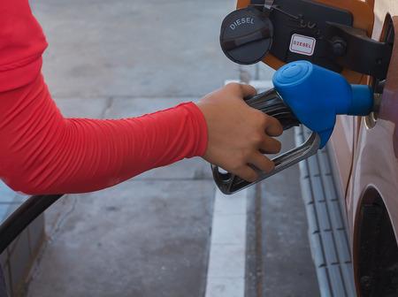 fuelling pump: Handle fuel dispenser Stock Photo