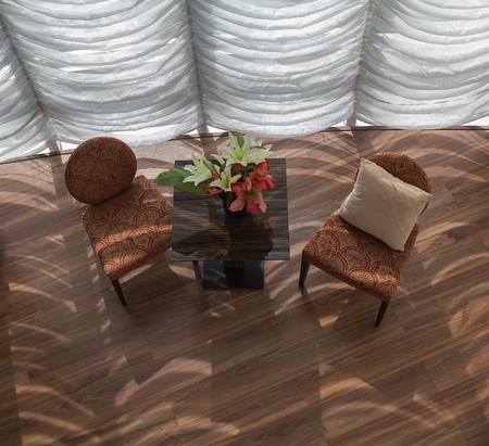 round chairs: Tables and chairs in a modern style.