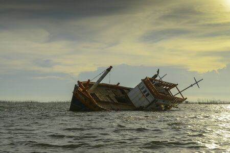 beached: Landscape shipwreck - fishing boat asia Thailand