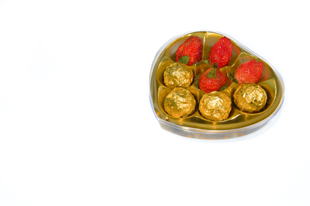healthiness: Strawberry with chocolate, studio isolated on white background