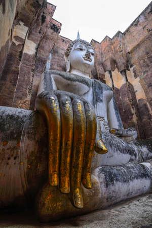 sukhothai: Ancient buddha statue. Sukhothai Historical Park, Sukhothai Province, Thailand Editorial