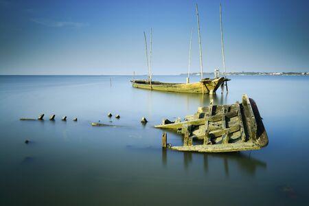 wrecks: Sunken wrecks, Chonburi Thailand. Stock Photo