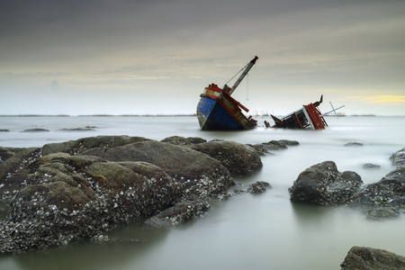 shipwreck: Landscape shipwreck - fishing boat asia Thailand
