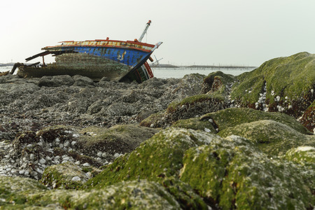 carcasses: ship Wreck carcasses shells and stones Landscape  Thailand