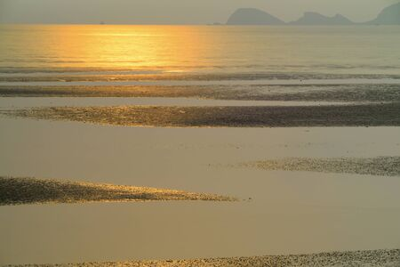 the natural phenomena: Water into the sea during a line., And natural phenomena. Stock Photo