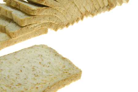 food stuff: image of one slice of white bread against the white background Stock Photo