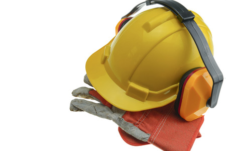 earmuff: Safety Helmet and gloves and earmuffs.