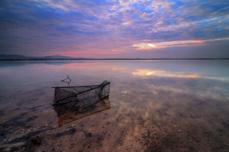 fishing gear: Fishing gear Morning Light The water reservoir Stock Photo