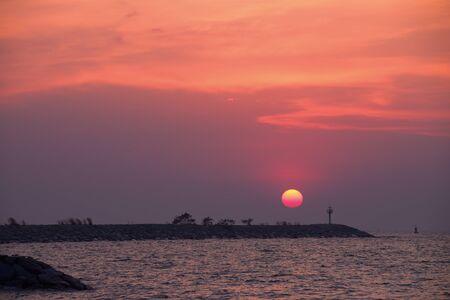 shielding: sunset at  Horizontal wave shielding Ban Amphur Chonburi