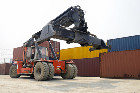 handling: forklift handling the container box