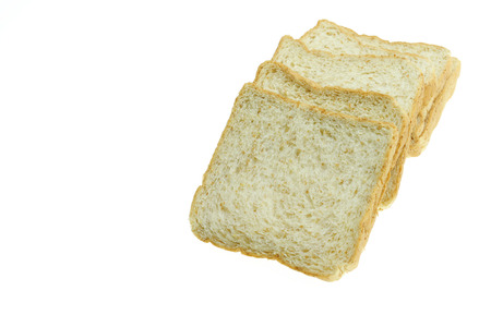 pain blanc: image of one slice of white bread against the white background Banque d'images