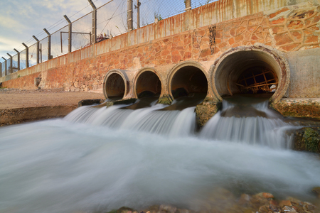 sewer water: water flowing from a drain pipe into a the sea
