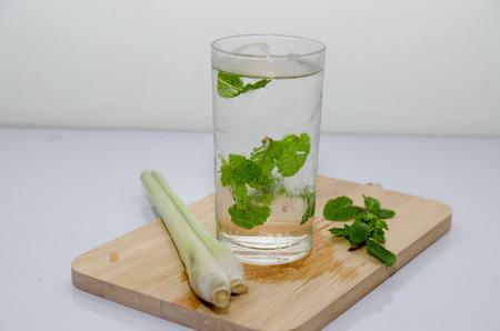 lemon grass: cup of green tea with mint,lemon grass,soft focus