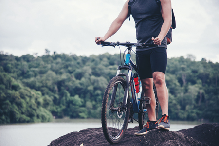 Biker Tourist Travel On Mountain.Bike Adventure Travel Photo Imagens