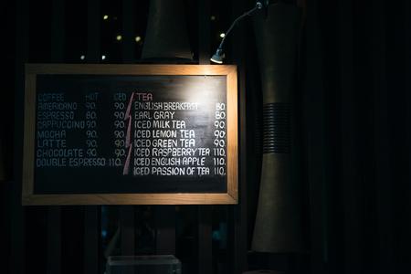 Coffee menu in the cafe 版權商用圖片