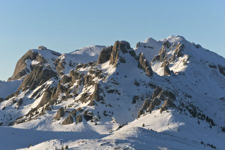 winter mountain landscape with a blue sky Stock Photo - 8162491