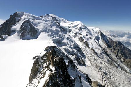 The lAiguille du Midi, Mont Blanc, Chamonix Stock Photo