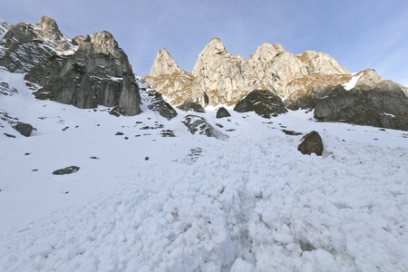 avalanche: a small avalanche in the Bucegi Mountains, Romania