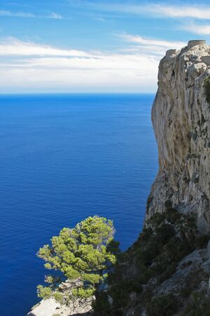 a mountain slope in the blue sea