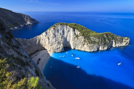 view of the shipwreck on the beach Navagio in Zakynthos, Greece   Stock Photo