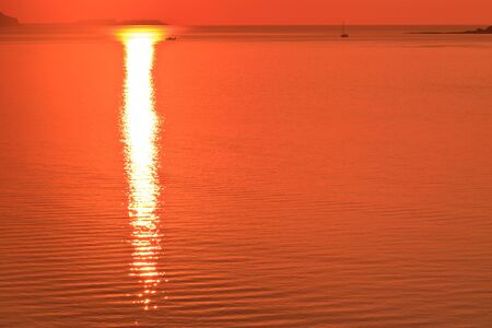 reflection of the sun at sunrise on sea photo