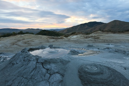 Strange landscape (dry mud, scorched earth) produced bu active mud volcanoes. Location: Romania, Buzau county.