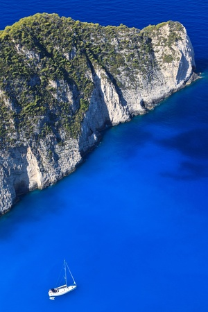 a ship at sea near Navagio beach,  Zakynthos, Greece Stock Photo