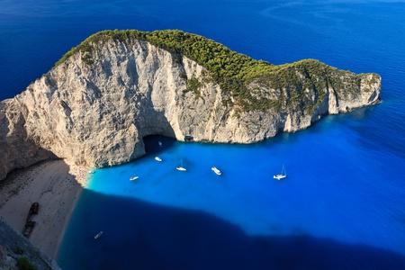 vista del naufragio sulla spiaggia Navagio Zante, Grecia