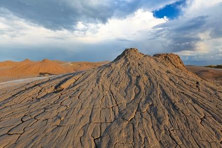 bu: strange landscape produced bu active mud volcanoes. Location: Buzau Romania Stock Photo