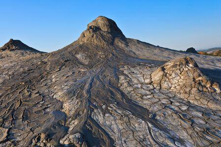 bu: strange landscape produced bu active mud volcanoes Stock Photo